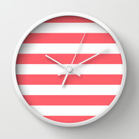 Stripe Coral Bold Wall Clock by Beautiful Homes