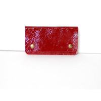 iphone 5 Wallet - Burgundy Crinkled Patent Italian Leather