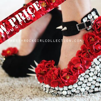 Red Floral Rhinestone Studded Spike Wedge Shoes SIZE 6, 7, 7 1/2, 8