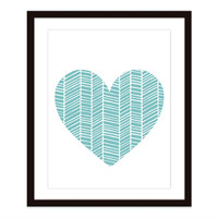 Patterned Blue Heart Wall Art (Framed NOT Included)