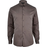 River Island MensGrey stretch long sleeve shirt