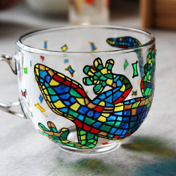 Big coffee Mug, Painted Large Mug, Colorful lizard Mug, Mosaic Cup, Large Mugs, Bright Mug, MultiColored Mug, Handmade Glass Mug, Large Cup