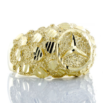 Best gold nugget ring products on wanelo for 14k gold mercedes benz pendant