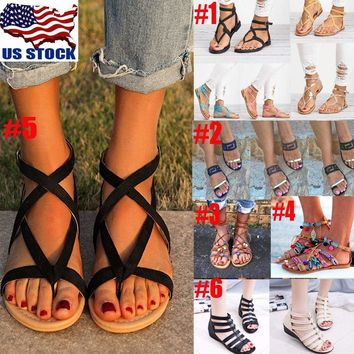 Women Summer Strappy Gladiator Low Flat Heel Flip Flops Beach Sandals Shoes Size