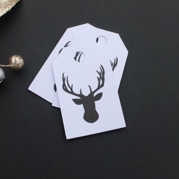10 White Deer Christmas Gift Tags - 3in x 1.875in - Do Not Open Until December 25, Best Gift Ever, Deer, Christmas Tree