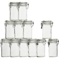 Mini Oval Spice-Herb Jars with Clamp (Set of 12)