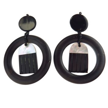 Monies Black White Shell Ebony Wood Hoop Earrings, Vintage, 1930s to 1980s