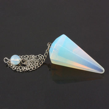 Opal Natural Stone Pendulum Crystal Faceted Pyramid Healing Dowsing Reiki Chakra Pendulum With Chain