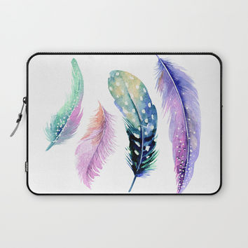 Watercolor Feather Laptop Sleeve by Smyrna