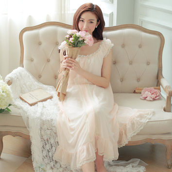 Retro palace princess sling nightgown Summer women nightgown female fairy long section of soft lace