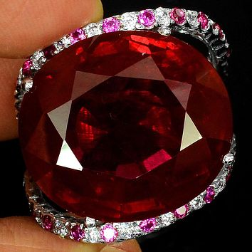 Vintage 37CT Oval Cut Red Ruby White Sapphire Halo Ring