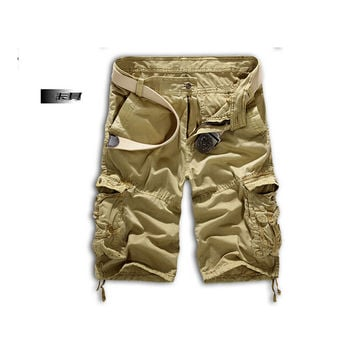 Fashion Mens Work Trousers Military Army Cargo Camo Combat Multi-pocket Pants   Khaki
