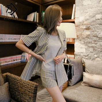 2018 Summer New Arrival Women Two Pieces Sets Short Sleeve Blazer And Short Pants Korean Style V-Collar Double Breasted S85033LD