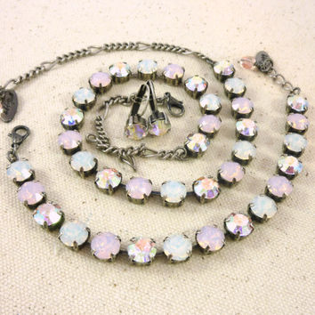 Soft Pink Swarovski crystal tennis necklace, from the Chantilly collection, rose water opal , Designer inspired Siggy bling