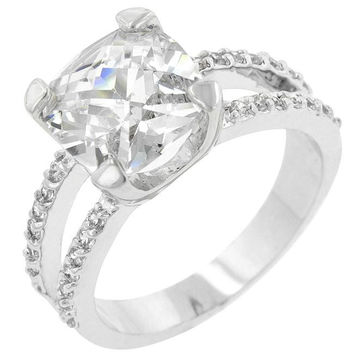 Double Band Cubic Zirconia Engagement Ring, size : 06