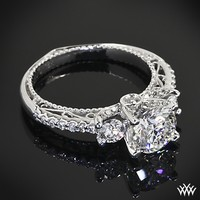 Verragio Beaded Shared-Prong 3 Stone Engagement Ring | 14403