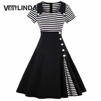 VESTLINDA Vintage Striped Buttoned Pin Up Dress Women Black White Cotton Summer Short Sleeve Dress 2017 Retro 50s 60s Dresses