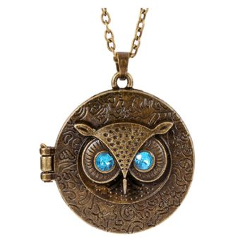 Blue Eye Owl Round Box Opening Locket Pendant