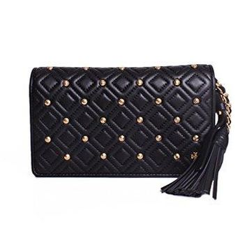 Tory Burch Fleming Stud Flat Wallet Cross-Body