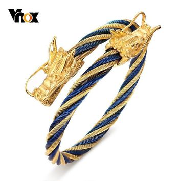 Vnox Rock Punk Double Dragon Heads Cuff Bracelets Bangles for Men Stainless Steel Twisted WIA Viking pulsera Accessories