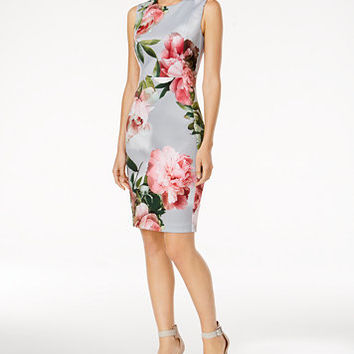 Calvin Klein Printed Scuba Sheath Dress | macys.com