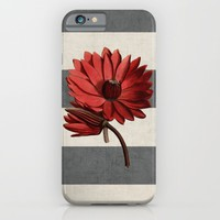 botanical stripes - red water lily iPhone & iPod Case by Her Art