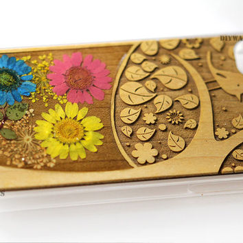 unqiue Iphone 4 4s 5 5s 5c case cover skin wood wooden Real pressed flower flowers natural engrave carved 3d text tree bird leafs cute cases