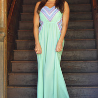 Give Your Heart A Break Maxi Dress: Mint/Multi | Hope's