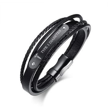 Men's Stainless Steel Genuine Leather Wristband Black Bracelet for Men Personalized Custom Engraving Medical DIABETES 8.3""