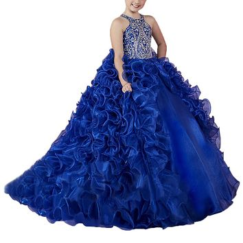 blue halter kids glitz pageant dresses for girls 8 12 long girls prom party dress corset ball gown pageant dress for girls