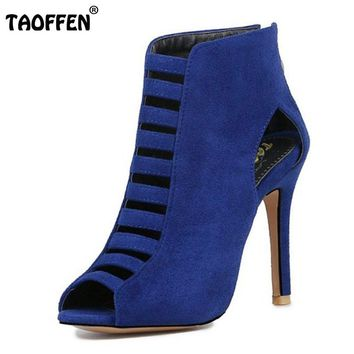 Women Gladiator High Heeled Shoes w/Zipper Thin Heel