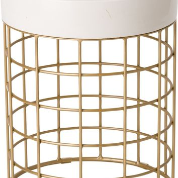 Cooper Metal Stool/Table Powdercoated Gold With A White Ceramic Top