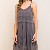 Charcoal Tulle Midi Dress
