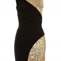 Black/Gold Ruched Sequin Bodycon Dress | Dresses | Desire