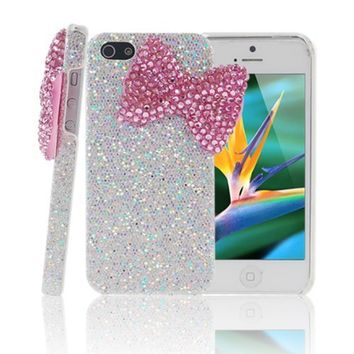Mavis's Diary Bling Handmade 3D Stylish Big Bow Shining Back Case Cover for Apple Iphone 5 5S with Soft Clean Cloth (Pink Bow Silver Case)