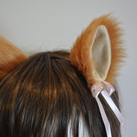 saffron yellow  long fur 9 cm Kitty Cat Ear FOX ear Hair Clip Bell set Cosplay Costumes Party Black Friday Cyber Monday