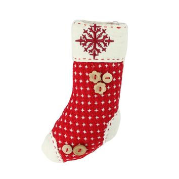 """7.5"""" Plush Red Holiday Stocking with Snowflake Embroidered Burlap Cuff Decorative Christmas Ornament"""