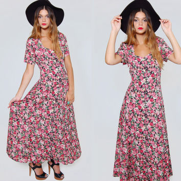 Vintage 90s Floral Print Maxi Dress Black w/ Red Oversized ROSE Print Boho Maxi Dress REVIVAL Duster