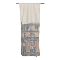 "Laura Evans ""London Town"" Brown Decorative Sheer Curtain"