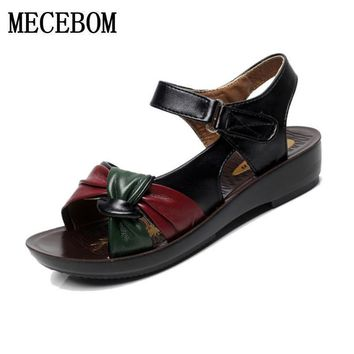 2017 summer shoes flat sandals women aged leather flat with mixed colors fashion sanda
