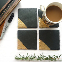 Slate & 24k Gold coasters, placemats, geometric home, handmade luxury UK, choose copper, silver or gold, choose set size, birthday gift