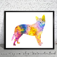 Australian Cattle Dog Watercolor Print, animal art, dog watercolor, watercolor painting, animal watercolor, Australian Cattle art, dog art