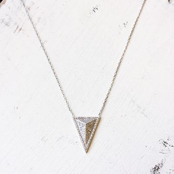 Sterling Silver & CZ Triangle Necklace