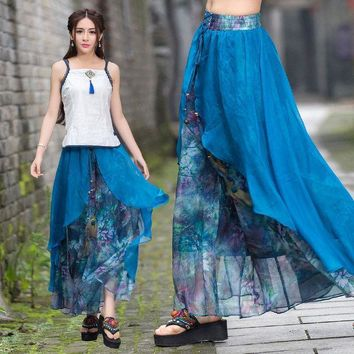 CREYONHS Vintage 70s ethnic long two layers asmmetrical print wide leg pant 2017 women summer Mexico style ethnic print trousers capris
