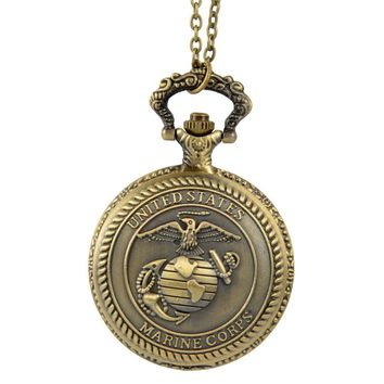 Relogio Retro Bronze Quartz Pocket Watch steampunk Clock Watches with Marine Corps Necklace watches Mens Womens Christmas Gifts