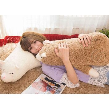 Lovable prone alpaca plush cushion soft throw pillow toy home decoration
