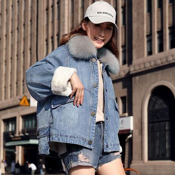 Denim Jacket Women Thickening Raccoon Fur Collar Detachable Long Sleeve 3 Colors Loose Coat Casual Style New Fashion 2018