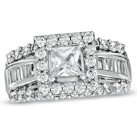 2-5/8 CT. T.W. Princess-Cut Diamond Frame Engagement Ring in 14K White Gold