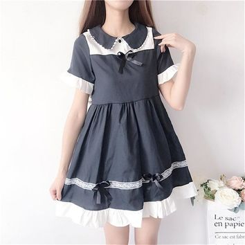 Harajuku Gothic Loli Dark girl peter pan collar bow lace women mini dress Japanese Summer cotton linen vadim dresse