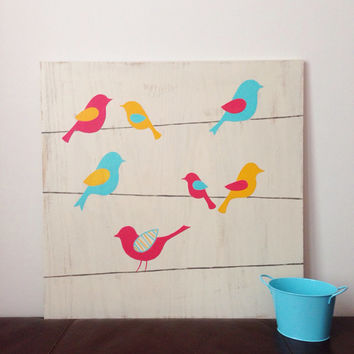 Large hand painted Birds on a Wire Wall Art by SweetBananasArt